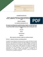 Acuerdo489de2012Plandedesarrollo2012 2016 BOGOTA