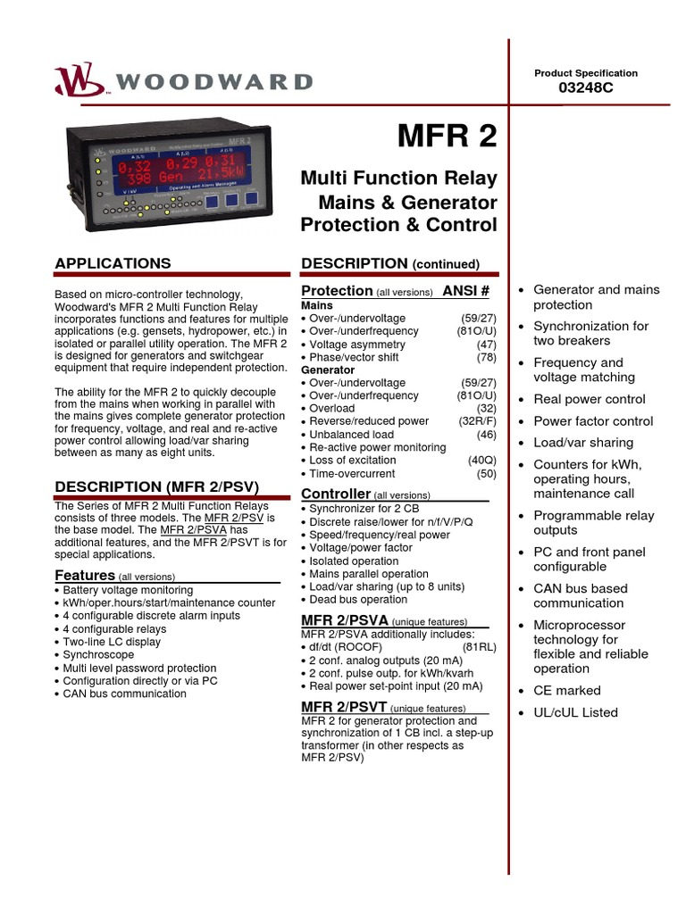 Ww Mfr2multifunction Relay Mains Electricity Power Function