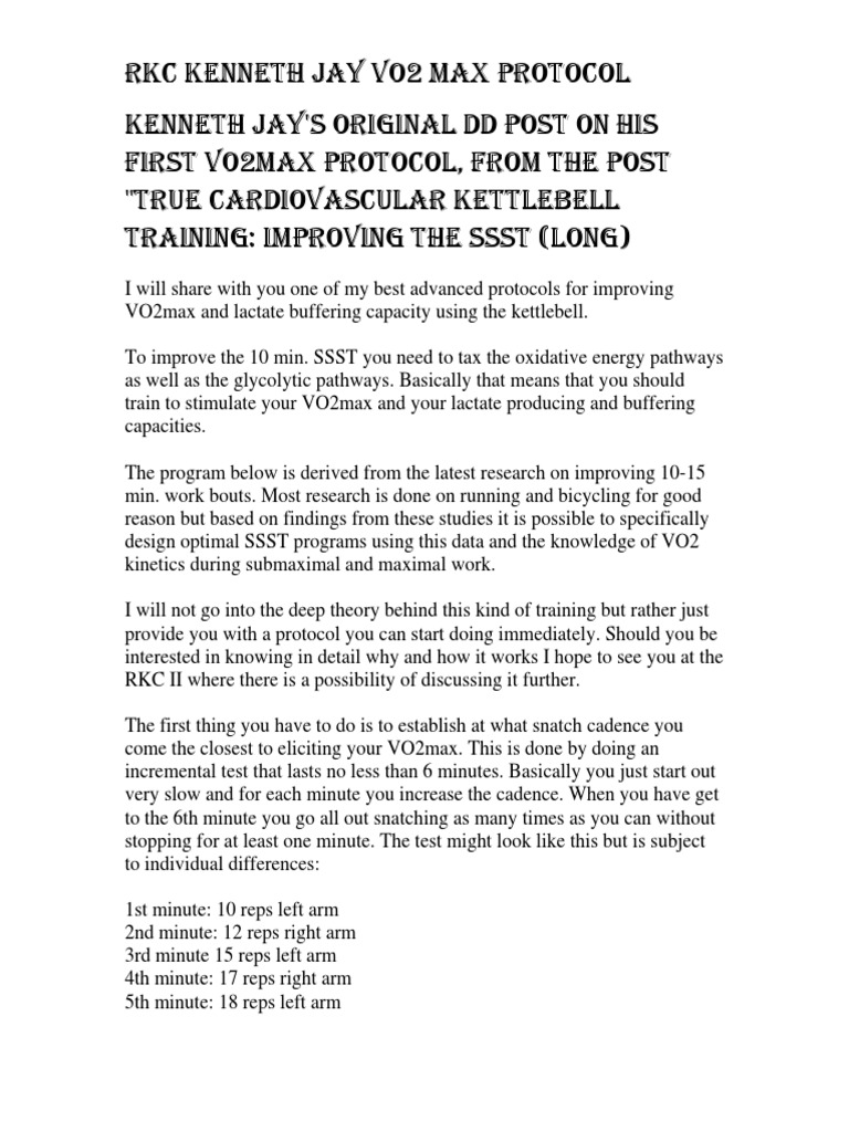 Kenneth Jay Vo2max Kettlebell Program