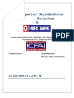 A Report on Organizational BEHAVIOUR of HDFC Bank
