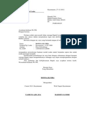 Surat Permohonan Bantuan Modal Baz