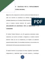 Pronunciamiento Zacatecas Por El Fortalecimiento Del Sistema Electoral Nacional