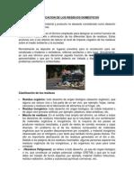 Clasificacion de Los Residuos Domesticos