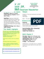 September 29 Newsletter