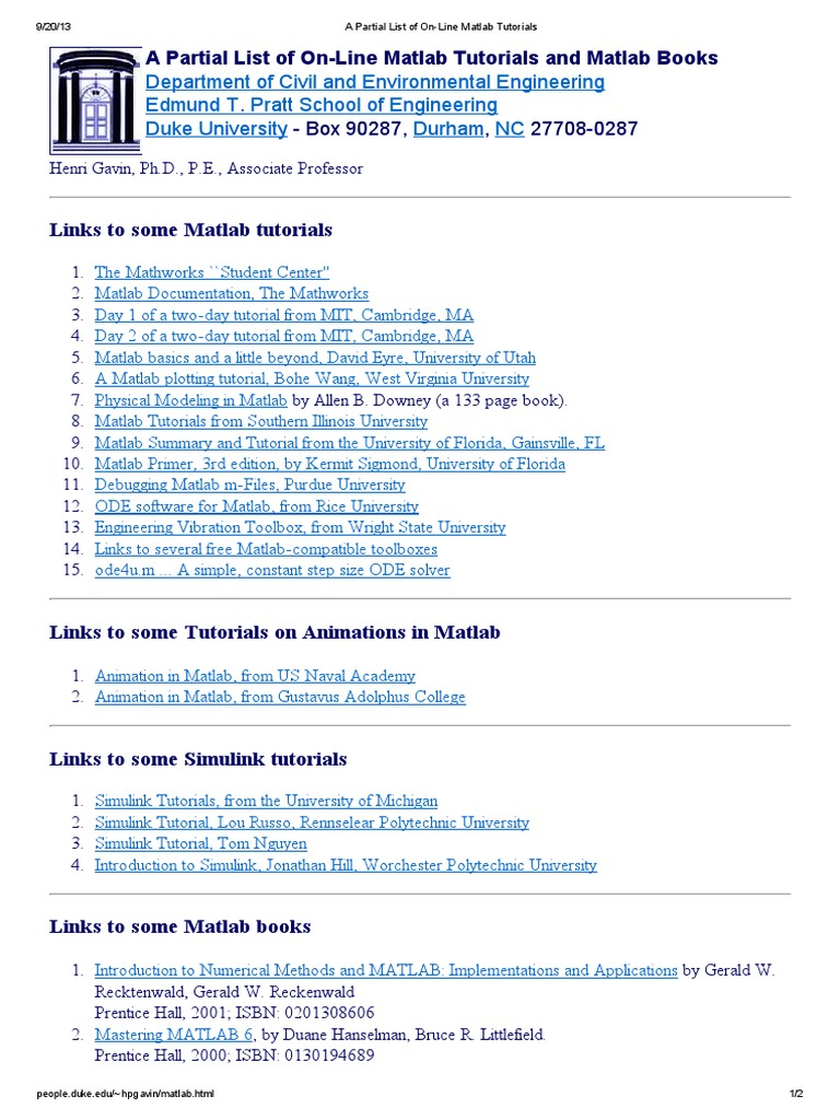 A Partial List of on-Line Matlab Tutorials | Matlab | Scientific