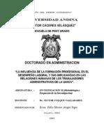 PROY LA INFLUENCIA DE LA FORMACIÓN PROFESIONAL EN EL DESEMPEÑO LABORAL