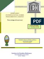 Realidad cultural, política y cosmovisión andina