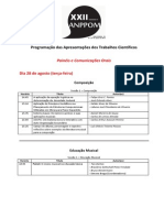 Programação Trabalhos Científicos XXII ANPPOM