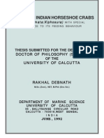 First Ph.D. Thesis Work on Indian Horseshoe Crabs(Merostomata:Xiphosura).
