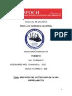 Facultad de Mecanica Proyecto de Inves. Oper.