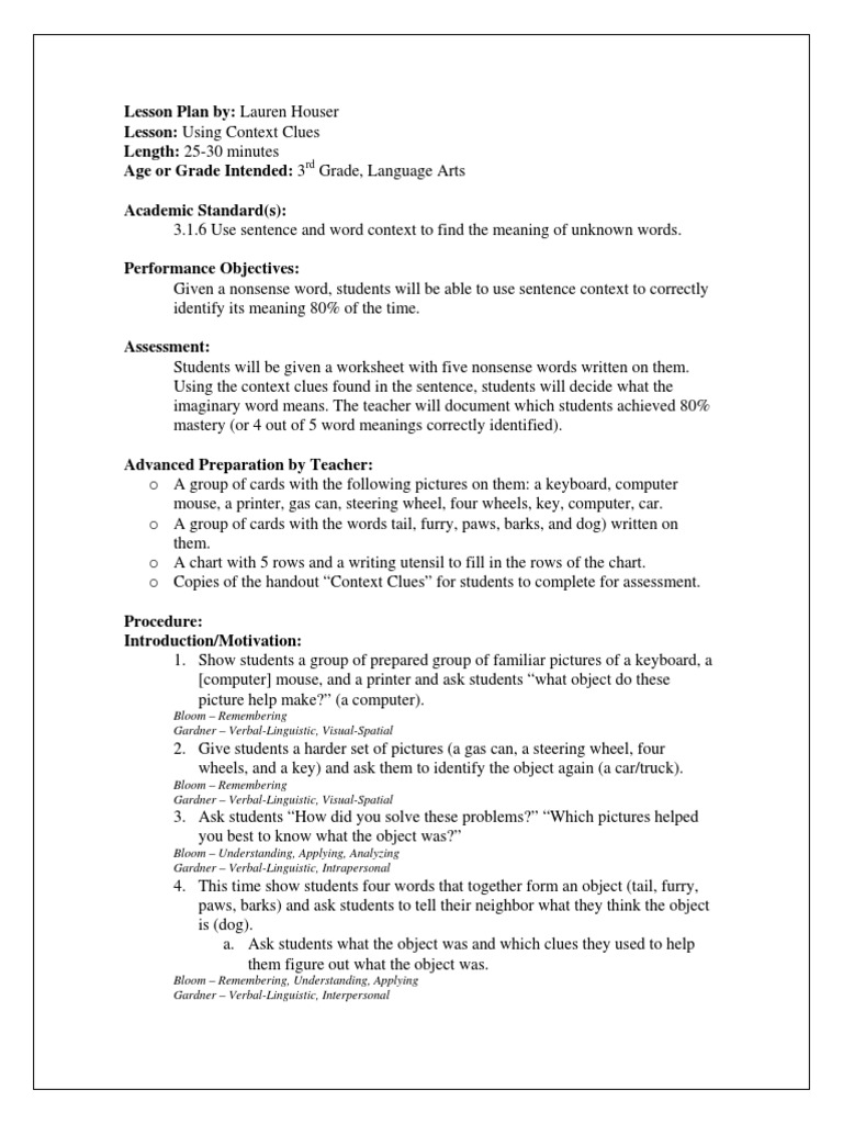 ENGLISH Context Clues Lesson Plan pdf | Lesson Plan