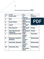 Holidays 2013