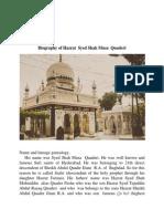 Biography of Hazrat  Syed Shah Musa  Quaderi  Hyderabad