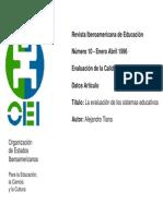 Evaluación de los sistemas educativos.