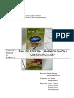 Análisis proximal sándwich marca LIDER