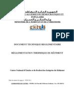 Réglement algerien sur les thermiques des batiments (version de 05-09-2011)