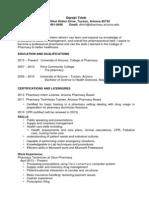 CV Pharmacy Intern 2013