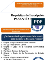 Requisitos Para Inscripcion. Pasantia Normal en Departamento