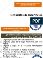Requisitos Para Inscripcion. Tesis en Departamento