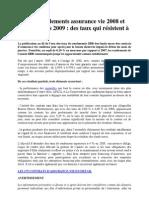 Taux de Rendements Assurance Vie 2008 Et Taux Garantis 2009