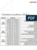 Calendario Academico 2013-2. Area de Pasantias