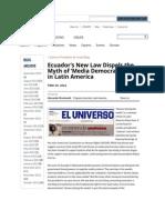 Ecuador's New Law Dispels the Myth of 'Media Democratization' in Latin America | Freedom House