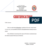 Certificate of Good Moral Character