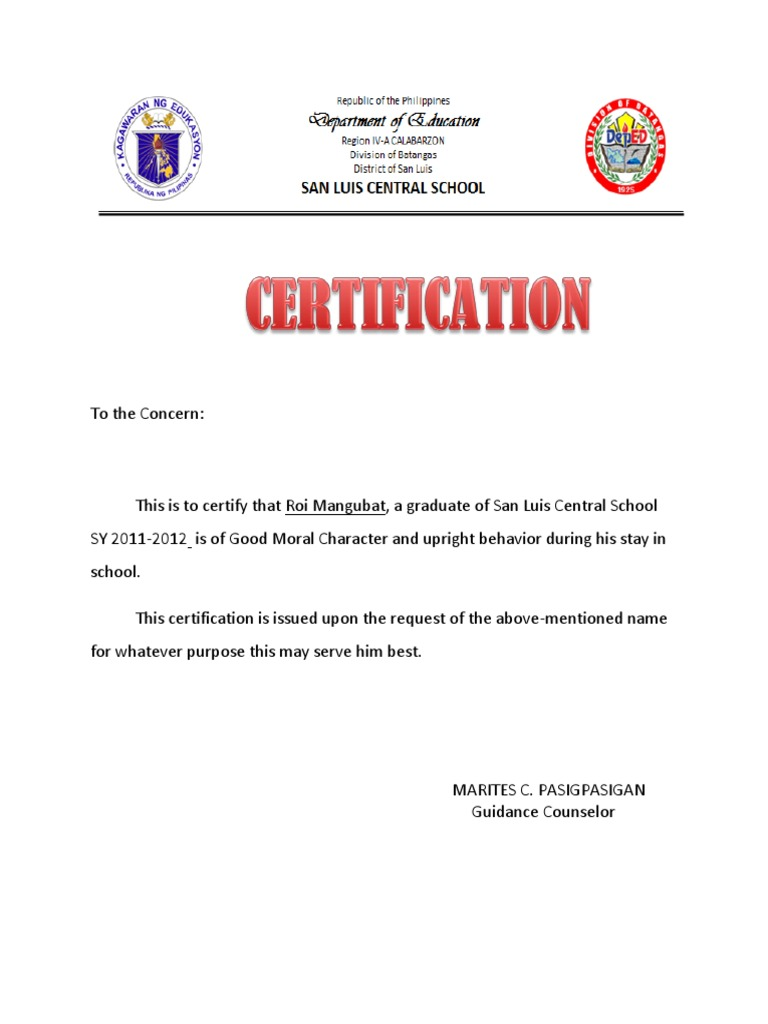 Certificate of good moral character for Certificate of good moral character template
