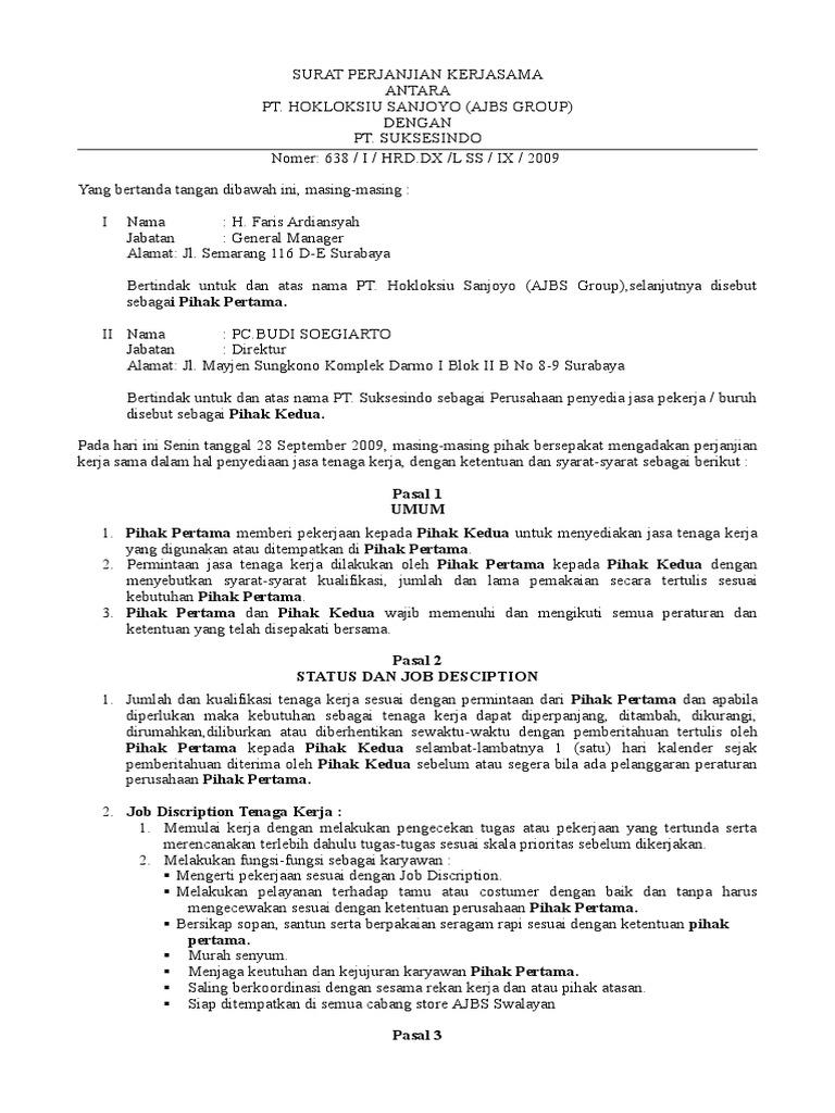 Contoh Surat Perjanjian Kerjasama Perusahaandoc
