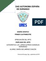 1 APRECIACION DEL ARTE Trabajo de Investigacion Simon Isai Jimenez Chacon