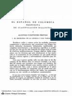 español de colombia clasificacion dialectal