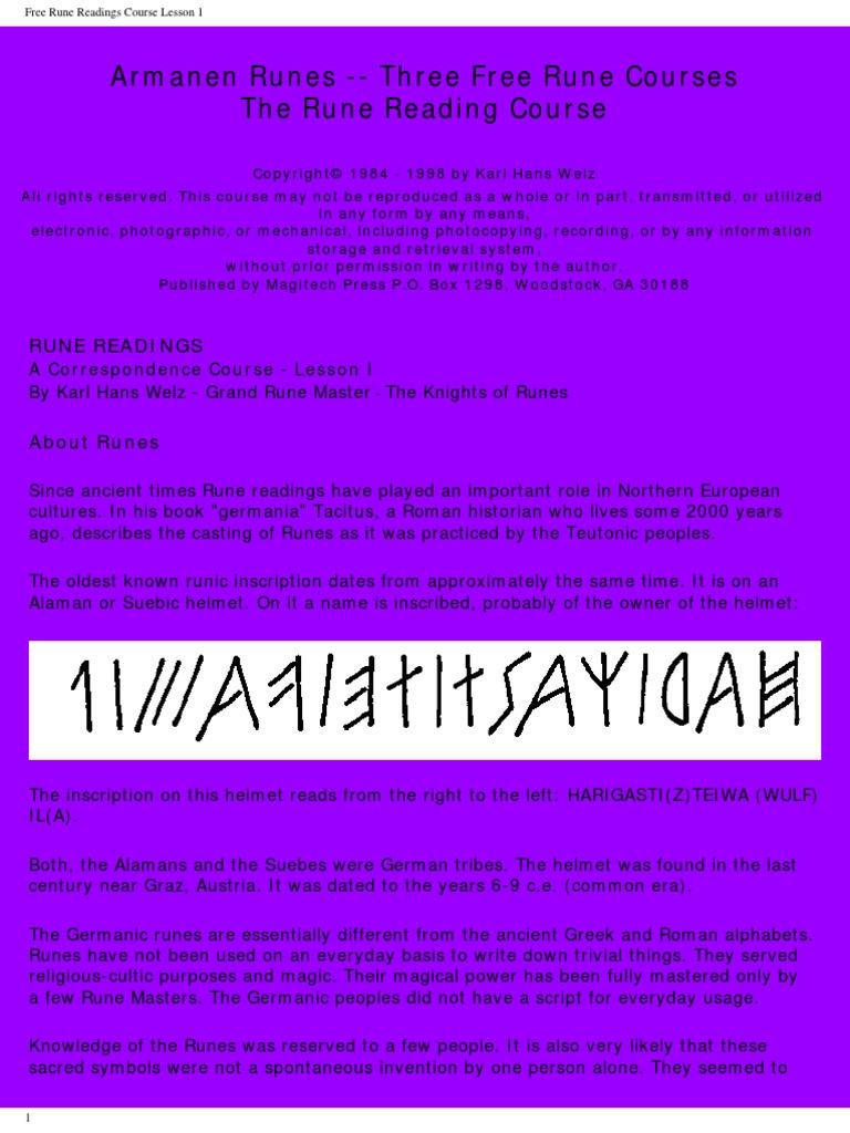 Welz karl hans rune readings plane esotericism runes buycottarizona Choice Image
