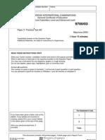 2003 Past Paper 3 (9700)