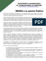 Nota Prensa Huelga Area Unica