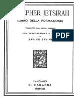 Savini Savino (a.c.), Il Sepher Jetsirah, R. Carabba Edotore, Lanciano, 1923