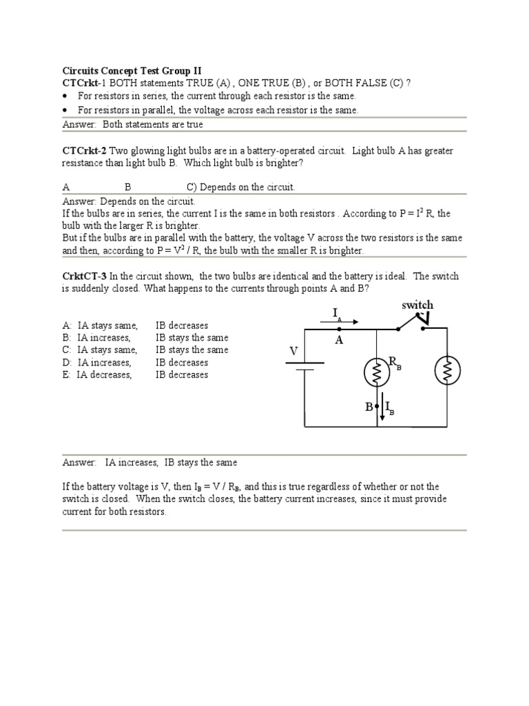 Ch19 Circuits Part2 Ans Series And Parallel Switch Circuit With 3 Bulbs