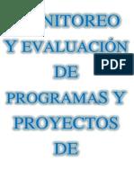 MONITOREO      Y EVALUACIÓN DE PROGRAMAS Y PROYECTOS DE EDUCACIÓN SOCIAL
