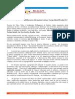 Comunicado a propósito del III Encuentro Internacional contra el Trabajo Infantil Brasilia 2013