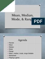 Mean Median Mode Range