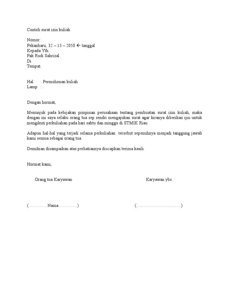 Contoh Surat Izin Kuliah by rudi sahrizal