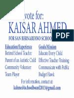 Kaisar Ahmed for San Bernardino School Board 2013 Flier