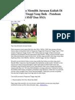 Tips Memilih Jurusan Sekolah Dan Universitas