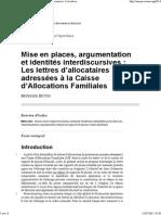 Mise en places, argumentation et identités interdiscursives