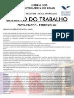 VIII EXAME DE ORDEM UNIFICADO - PROVA PRÁTICO - PROFISSIONAL - DIREITO DO TRABALHO