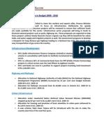 Development Programs in Budget 2009