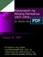 Kasaysayan Ng Wikang Pambansa