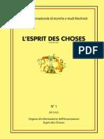 L'Esprit Des Choses n. 1 2012