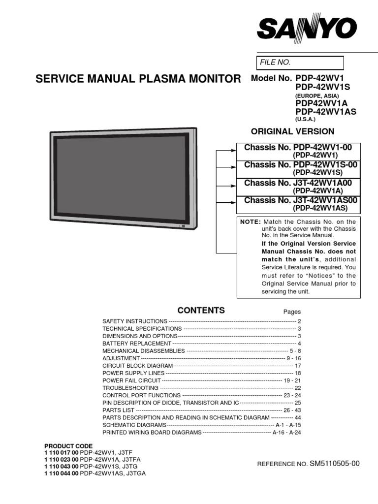 1538342349?v=1 sanyo plasma monitor pdp42wv1 service manual