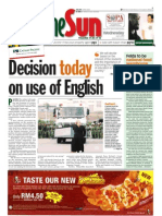 thesun 2009-07-08 page01 decision today on use of english