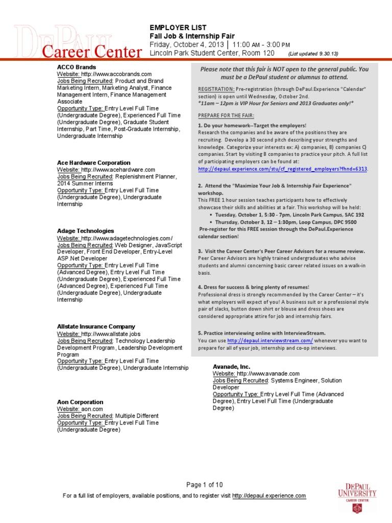 13 Fall Employer Opportunities List 9 30